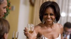 First Lady Michelle Obama alongside US P